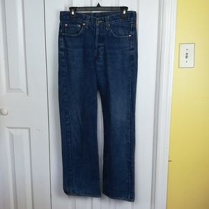 Levi's premium button fly jeans leather patch